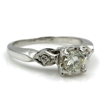 CLASSIC 14K WHITE GOLD .56 CTW ROUND BRILLIANT CUT VS2 DIAMOND RING SIZE 5 #E155