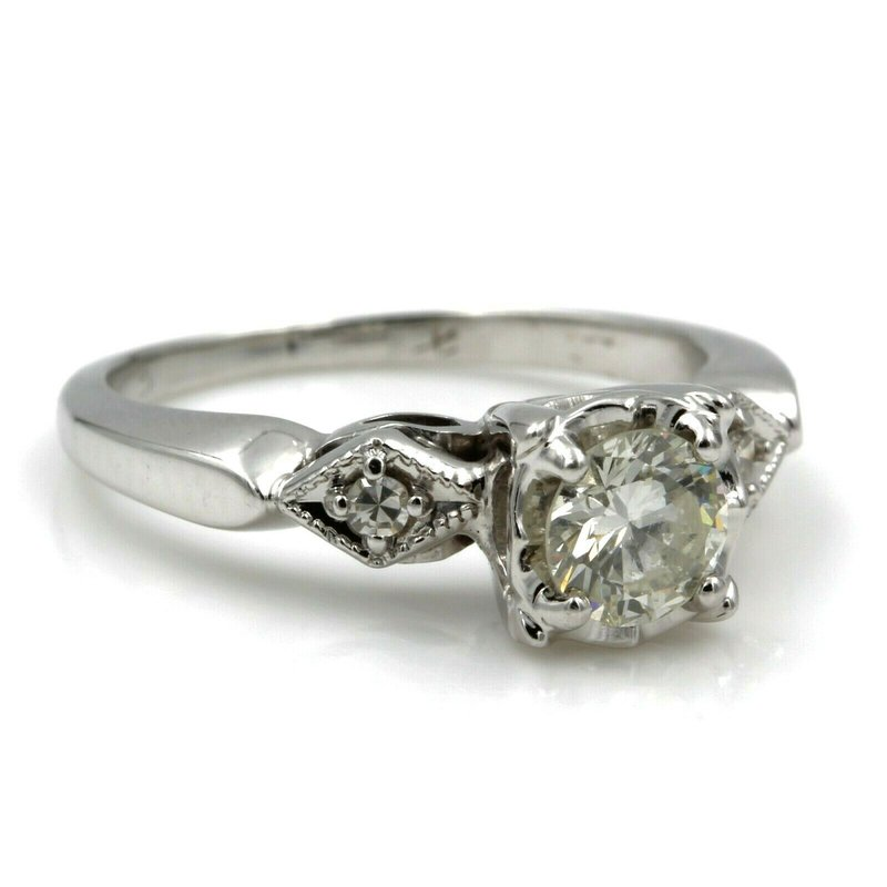 National Rarities CLASSIC 14K WHITE GOLD .56 CTW ROUND BRILLIANT CUT VS2 DIAMOND RING SIZE 5 #E155