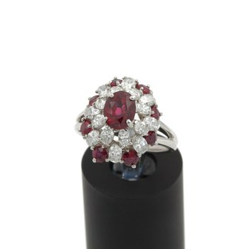 PLATINUM NATURAL OVAL AND ROUND RUBY DIAMOND COCKTAIL RING SIZE 6.25 #E349-4