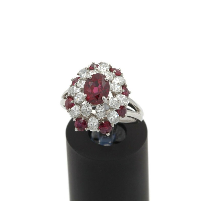 Ruby PLATINUM NATURAL OVAL AND ROUND RUBY DIAMOND COCKTAIL RING SIZE 6.25 #E349-4