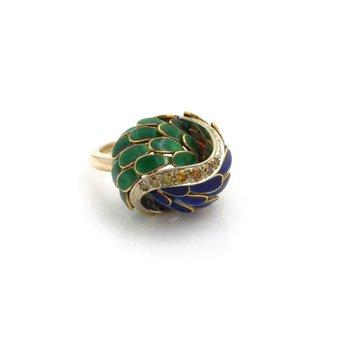 18K YELLOW GOLD VINTAGE DIAMOND & ENAMEL FEATHER COCKTAIL RING SIZE 4.5 #J486-4