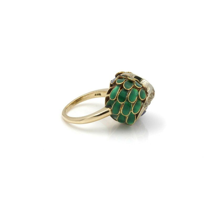 National Rarities 18K YELLOW GOLD VINTAGE DIAMOND & ENAMEL FEATHER COCKTAIL RING SIZE 4.5 #J486-4