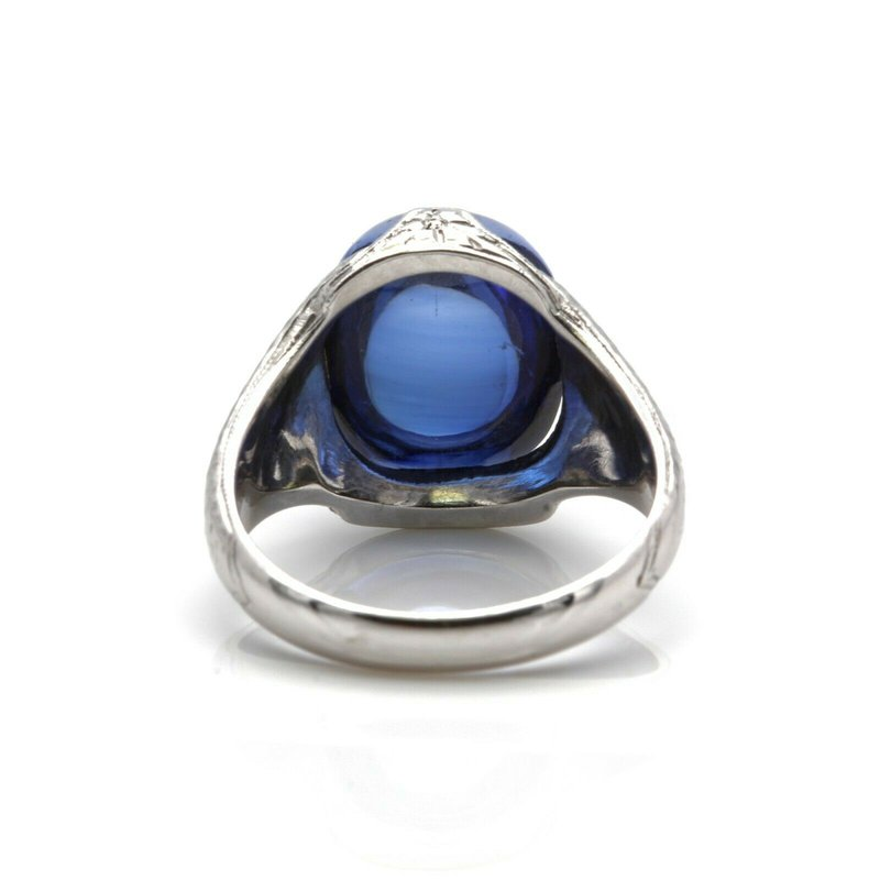 National Rarities 14k WHITE GOLD AND SAPPHIRE OVAL CABOCHON CUT GEMSTONE SIZE 5.5 NO RESERVE J6-1