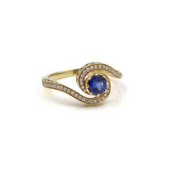 18K GOLD DIADORI SIGNED 1.30 CTW SAPPHIRE & DIAMOND SWIRL RING SIZE 6.5 #1036B-4