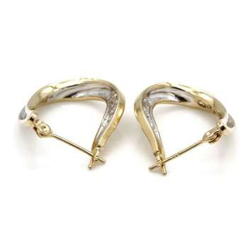 14K YELLOW GOLD ROUND BRILLIANT CUT DIAMOND CHANNEL HOOP EARINGS 0.72CTW #JB41-2