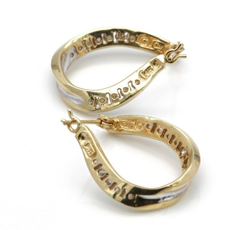 National Rarities 14K YELLOW GOLD ROUND BRILLIANT CUT DIAMOND CHANNEL HOOP EARINGS 0.72CTW #JB41-2