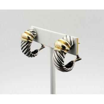 DAVID YURMAN STERLING & 14K GOLD THOROUGHBRED SHRIMP CABLE EARRINGS #D19-3