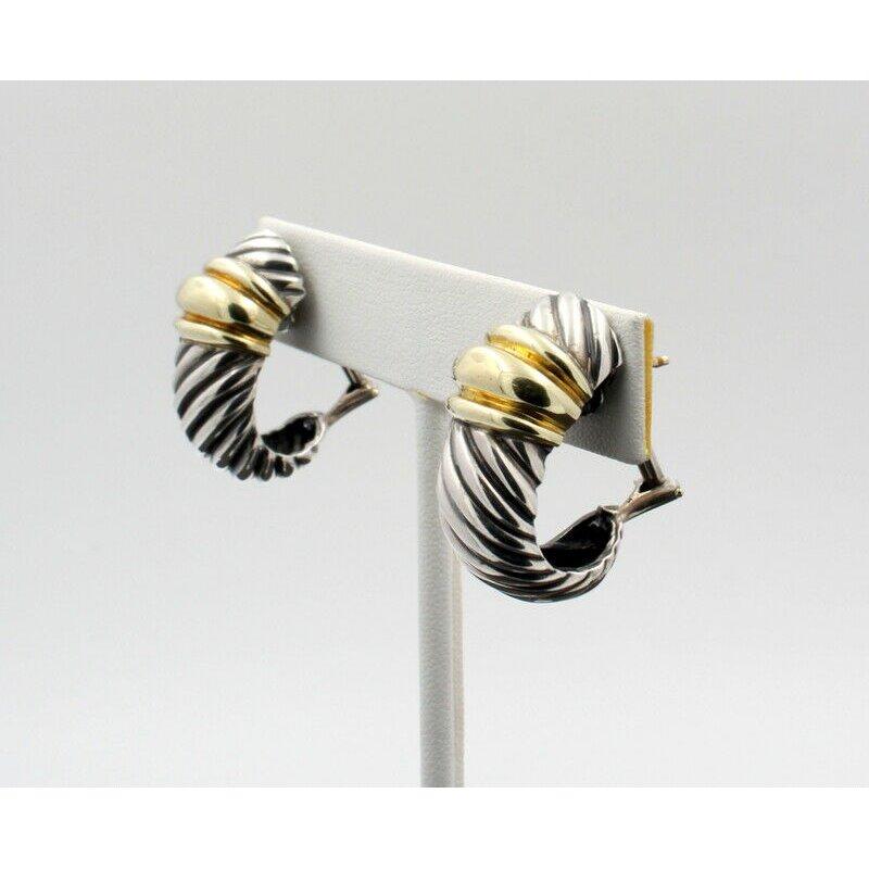 David Yurman DAVID YURMAN STERLING & 14K GOLD THOROUGHBRED SHRIMP CABLE EARRINGS #D19-3