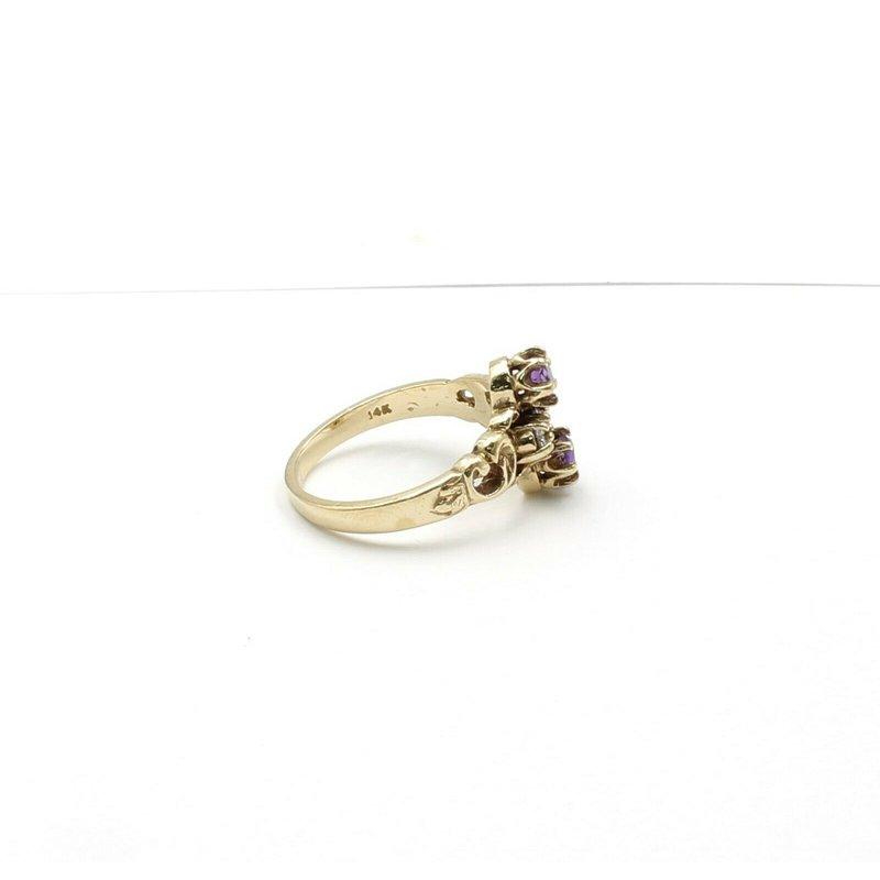 National Rarities 14K YELLOW GOLD .37 CTW ROUND AMETHYST & DIAMOND SCROLL MOTIF RING #JB31-9