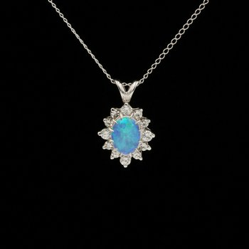 "14K WHITE GOLD OVAL OPAL & 0.64 CTW DIAMOND HALO NECKLACE 16"" CHAIN #1051B-9"