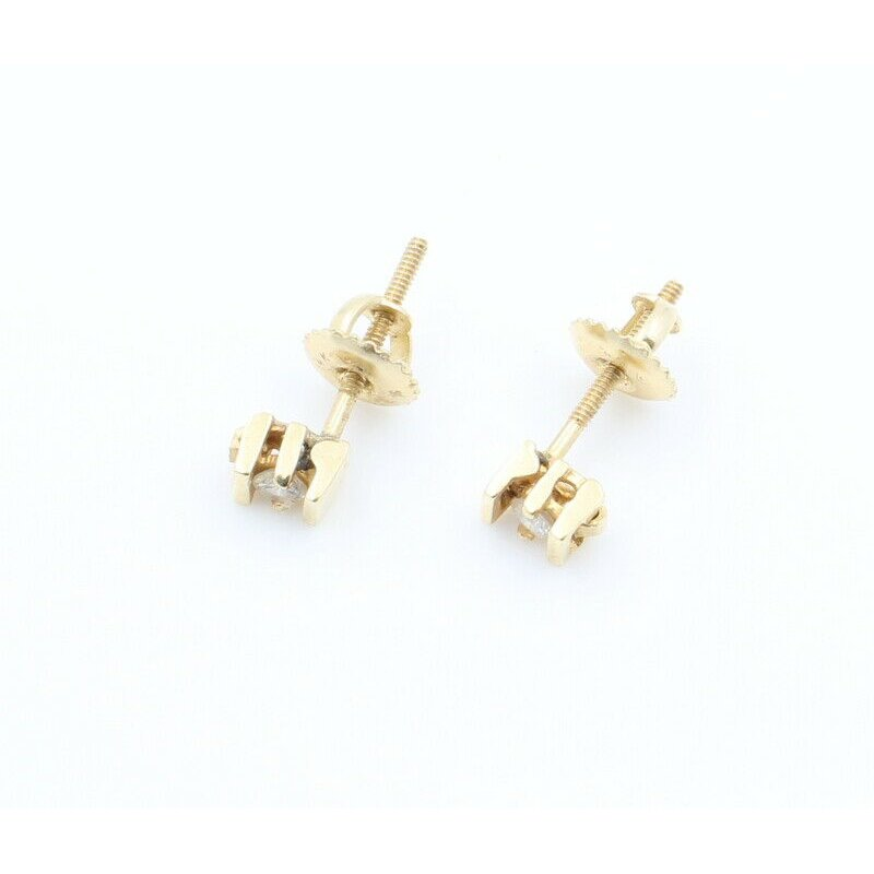 National Rarities 14K SOLID GOLD 0.12 CTW ROUND CHANNEL SET DIAMOND STUD EARRINGS #J7-8