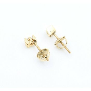 14K SOLID GOLD 0.12 CTW ROUND CHANNEL SET DIAMOND STUD EARRINGS #J7-8