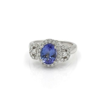 18K WHITE GOLD 2.26CT OVAL TANZANITE DIAMOND ACCENT COCKTAIL RING SIZE 7 #JB74-8