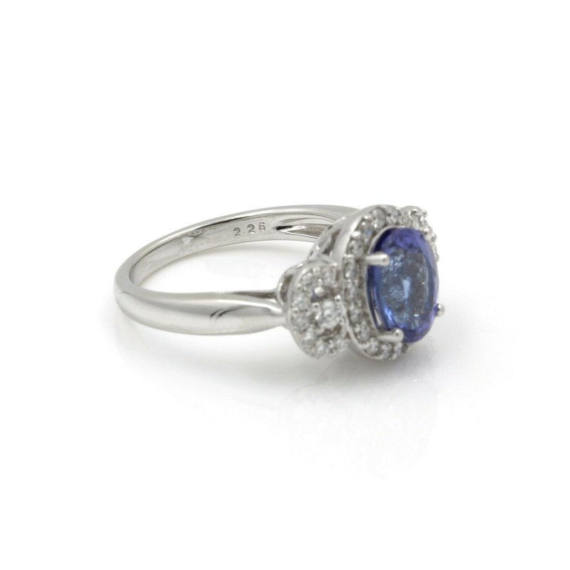 Unbranded 18K WHITE GOLD 2.26CT OVAL TANZANITE DIAMOND ACCENT COCKTAIL RING SIZE 7 #JB74-8