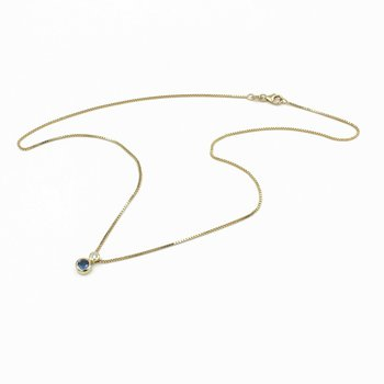 14K YELLOW GOLD NECKLACE WITH SAPPHIRE AND DIAMOND PENDANT NO RESERVE #1004B-9