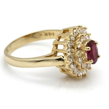 STUNNING 14K YELLOW GOLD WITH RUBY AND DIAMONDS STATEMENT RING SIZE 5.5 #J985-S4