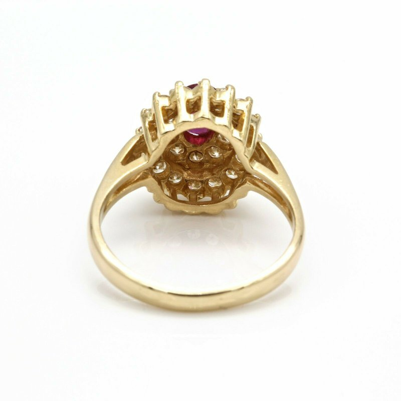 Ruby STUNNING 14K YELLOW GOLD WITH RUBY AND DIAMONDS STATEMENT RING SIZE 5.5 #J985-S4