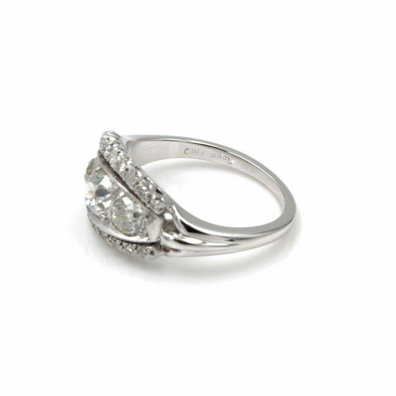 National Rarities 18K WHITE GOLD ART DECO OLD EUROPEAN DIAMOND RING 3 CENTER STONE 1.69CTW 1086B-2