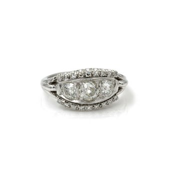 18K WHITE GOLD ART DECO OLD EUROPEAN DIAMOND RING 3 CENTER STONE 1.69CTW 1086B-2