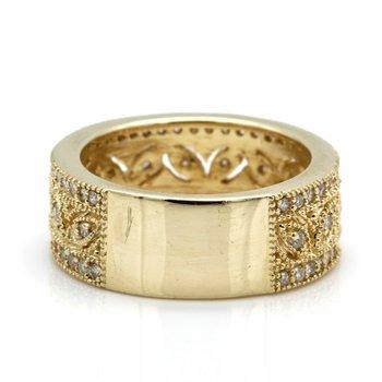 14K YELLOW GOLD PIERCED LEAF MOTIF ROUND BRILLIANT DIAMOND RING SIZE 7 #JB41-9