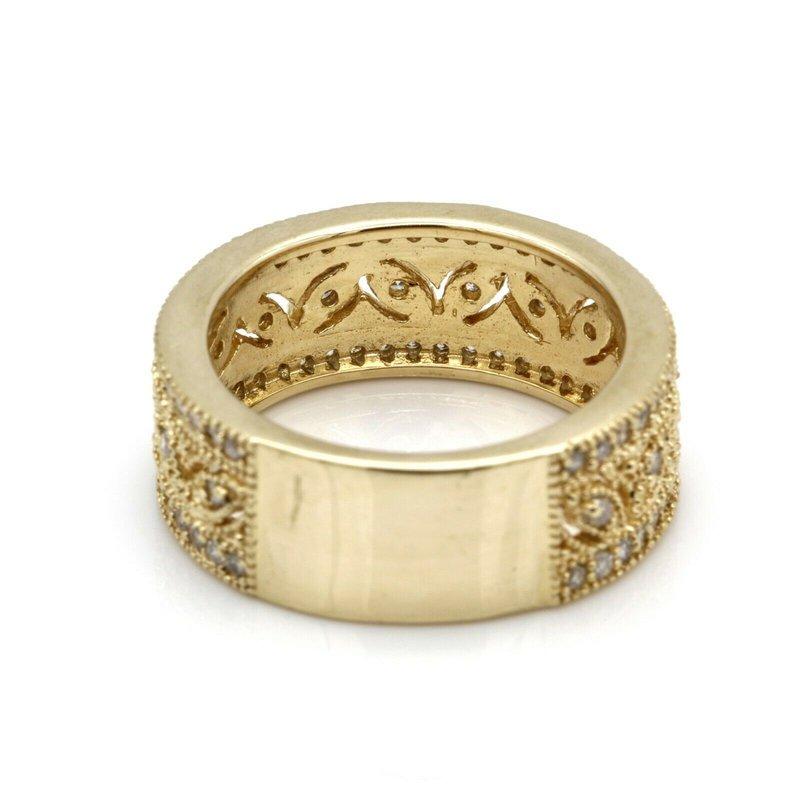 National Rarities 14K YELLOW GOLD PIERCED LEAF MOTIF ROUND BRILLIANT DIAMOND RING SIZE 7 #JB41-9