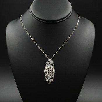"""ANTIQUE 18K WHITE GOLD 3.21 CTW DIAMOND & SAPPHIRE PENDANT W/ 24"""" CHAIN #E257"""