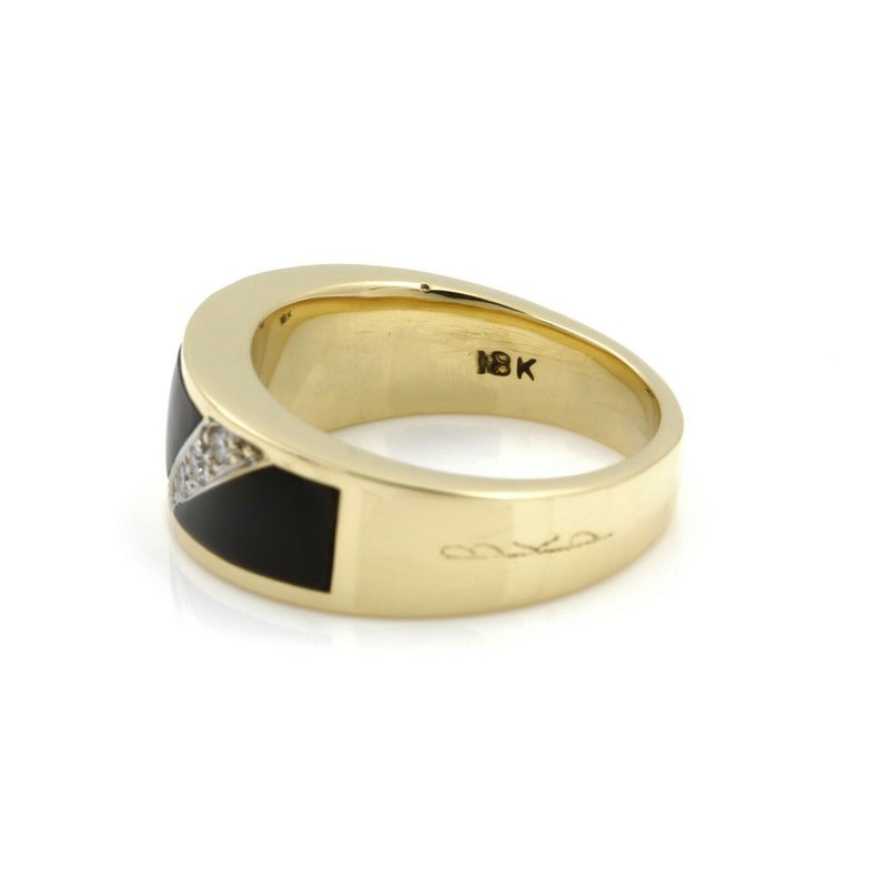 Passman PASSMAN 18K YELLOW GOLD BLACK CORAL ROUND BRILLIANT DIAMOND RING #J3089-1