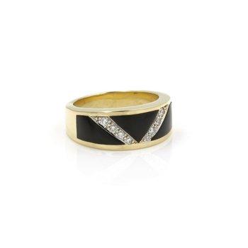 PASSMAN 18K YELLOW GOLD BLACK CORAL ROUND BRILLIANT DIAMOND RING #J3089-1
