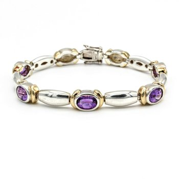 "LORENZO 18K YELLOW GOLD, STERLING SILVER, PURPLE AMETHYST 7"" BRACELET 1018B-3"