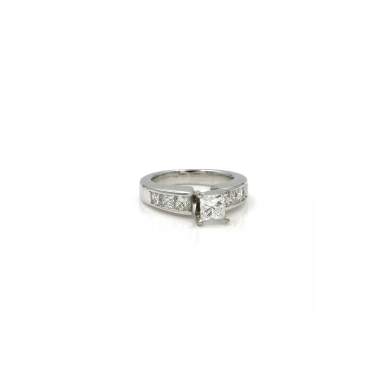 National Rarities 14K WHITE GOLD AND PRINCESS CUT DIAMOND 1.50 CTW ACCENTS RING SIZE 4.25 #1007B-5