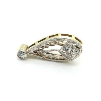 ANTIQUE EDWARDIAN 14K SOLID GOLD 0.17 CTW OLD EUROPEAN DIAMOND PENDANT #J4-8