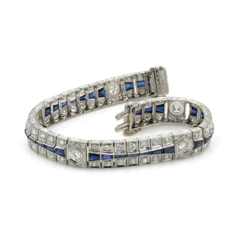 Estate ANTIQUE ESTATE ART DECO PLATINUM DIAMOND & BLUE SAPPHIRE LINK BRACELET #E1163-1