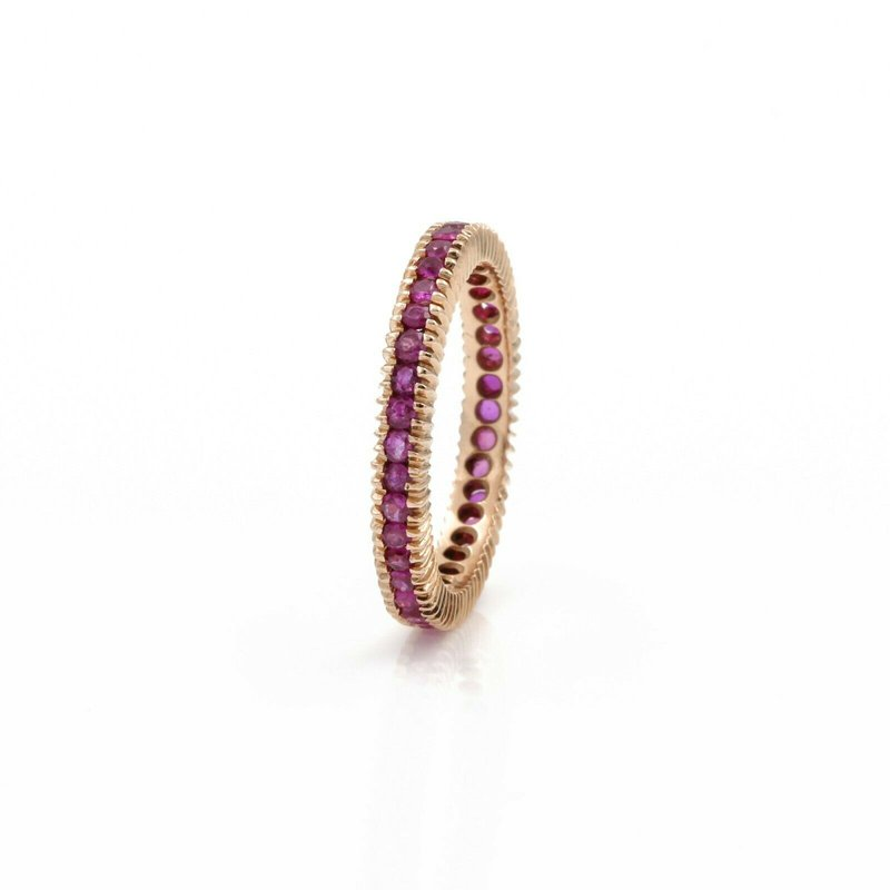 Eternity 14K ROSE GOLD 1.56 CTW ROUND RUBY STACKABLE ETERNITY BAND RING SIZE 7.5 #1101B-5