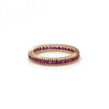 14K ROSE GOLD 1.56 CTW ROUND RUBY STACKABLE ETERNITY BAND RING SIZE 7.5 #1101B-5