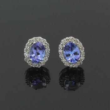 14K WHITE GOLD 1.70 CTW TANZANITE AND 0.64 CTW DIAMOND STUD EARRINGS #988B-9