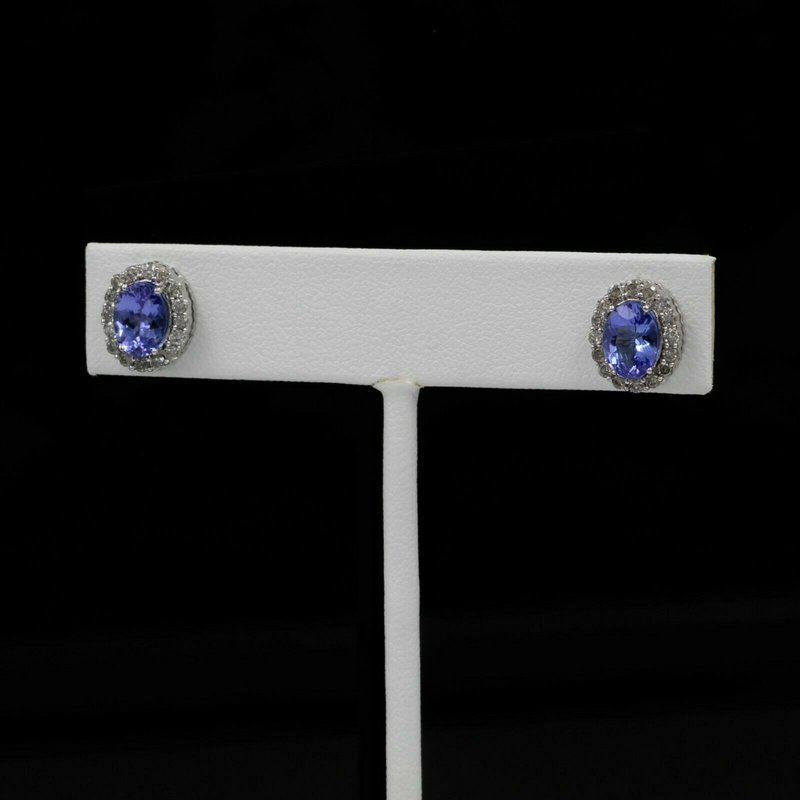 National Rarities 14K WHITE GOLD 1.70 CTW TANZANITE AND 0.64 CTW DIAMOND STUD EARRINGS #988B-9