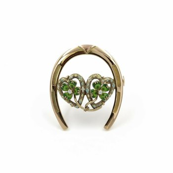 VINTAGE 14K GOLD DIAMOND AND ENAMEL FOUR LEAF CLOVER HORSE SHOE BROOCH #998B-1