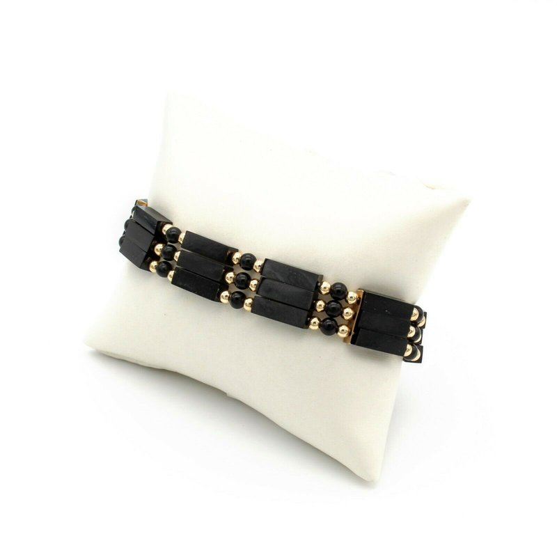 National Rarities RETRO 14K YELLOW GOLD BLACK ONYX 3 STRAND BRACELET W/ BOX CLASP VINTAGE 1013B-3