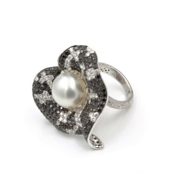 18K WHITE GOLD 6.84 CTW SOUTH SEA PEARL BLACK WHITE DIAMOND LILY PAD RING #E-318