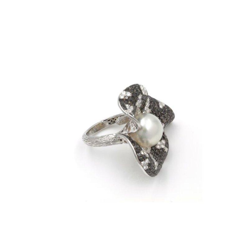 National Rarities 18K WHITE GOLD 6.84 CTW SOUTH SEA PEARL BLACK WHITE DIAMOND LILY PAD RING #E-318
