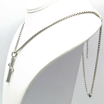 DAVID YURMAN STERLING SILVER MENS CABLE CROSS NECKLACE DESIGNER 24 INCHES D100-6