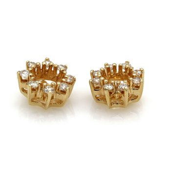 VINTAGE 14K YELLOW GOLD BRILLIANT 0.24 CTW ROUND DIAMOND EARRING JACKETS #JB63-9