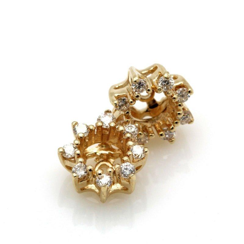 National Rarities VINTAGE 14K YELLOW GOLD BRILLIANT 0.24 CTW ROUND DIAMOND EARRING JACKETS #JB63-9