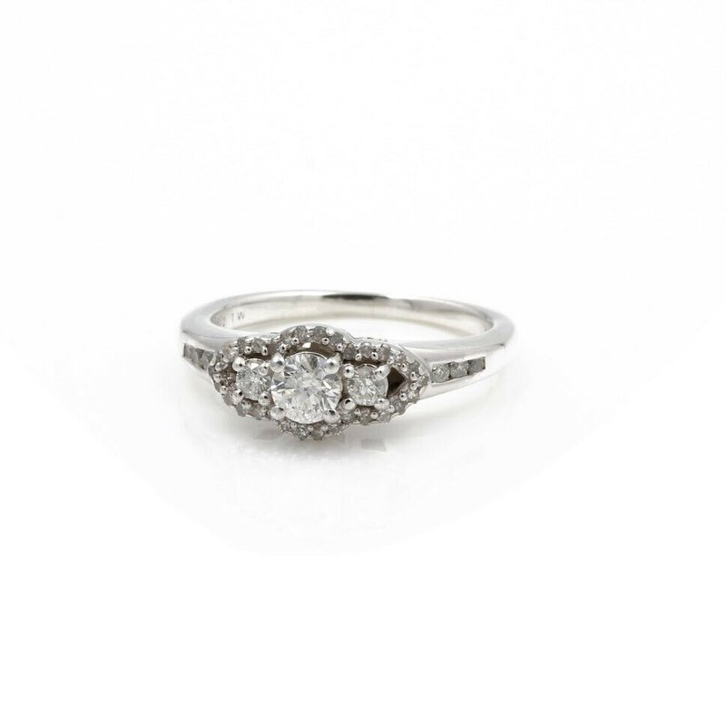 National Rarities LOVE LIVES FOREVER STERLING SILVER DIAMOND 3 STONE .50CTW RING SIZE 5.5 #JB62-6