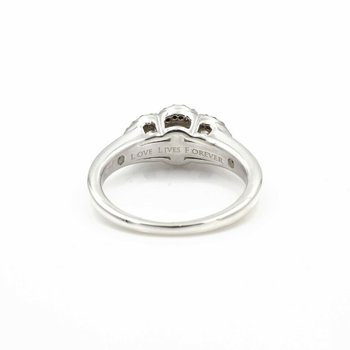 LOVE LIVES FOREVER STERLING SILVER DIAMOND 3 STONE .50CTW RING SIZE 5.5 #JB62-6