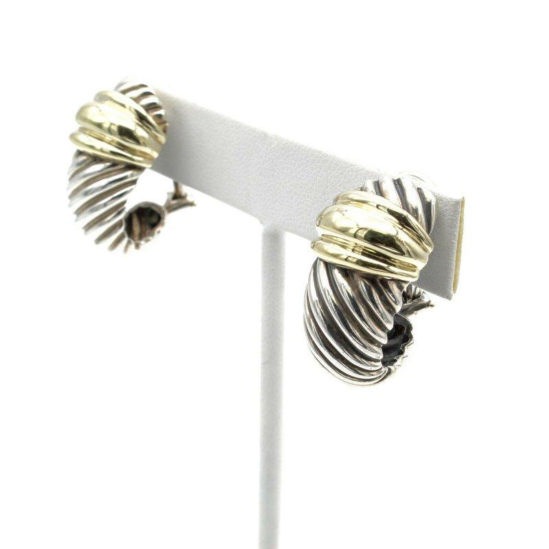 David Yurman DAVID YURMAN STERLING SILVER 14K LARGE THOROUGHBRED SHRIMP CABLE EARRINGS #D9-8