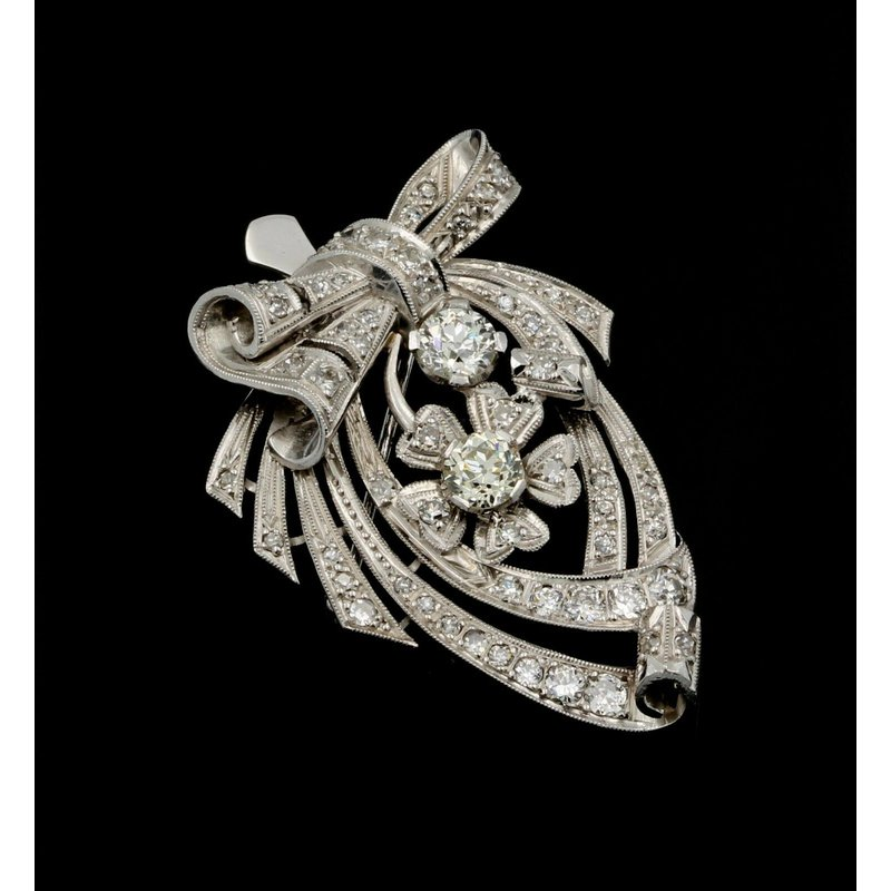 National Rarities RETRO PLATINUM AND 4.3 CTW OLD EURO & SINGLE CUT DIAMOND PENDANT/ BROOCH #E-230