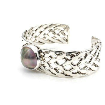 STUNNING STERLING SILVER PEARL SEA OF CORTEZ MABE PEARL BRAIDED CUFF #1031B-1