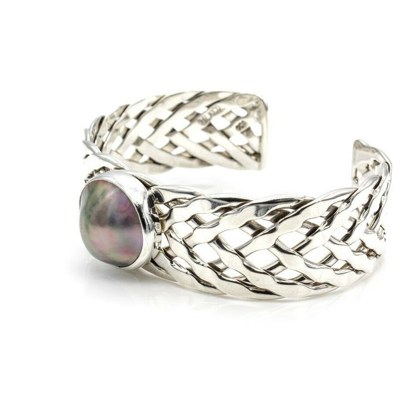 Sea Of Cortez STUNNING STERLING SILVER PEARL SEA OF CORTEZ MABE PEARL BRAIDED CUFF #1031B-1