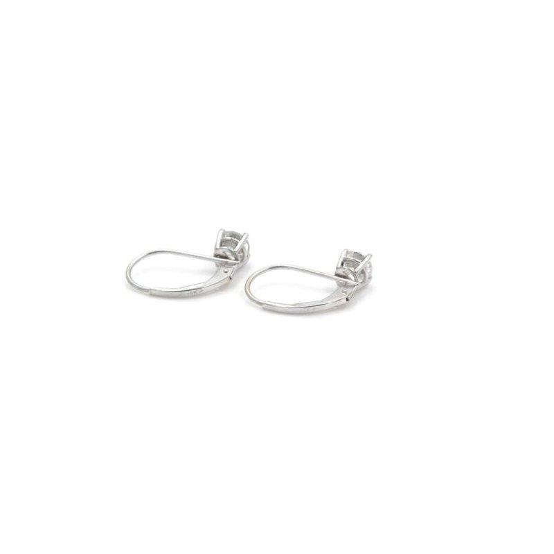 National Rarities 14K WHITE GOLD 0.80 CTW DIAMOND STUNNING LEVERBACK DROP SOLITARE EARRINGS #J2-5
